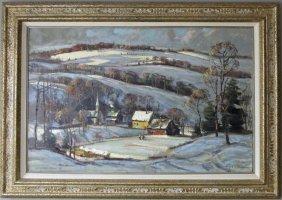 Wayne Morrell Oil On Board Winter Landscape, 24 By 35