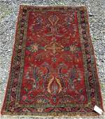 Old Sarouck Oriental scatter rug 59 by 39 inches