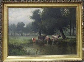 *carl Jonnevold Oil On Canvas Pastoral Landscape, 38