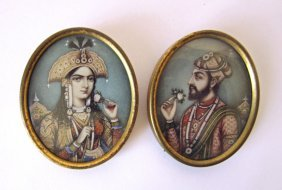 Pair Of British Period Indian Royalty Miniature