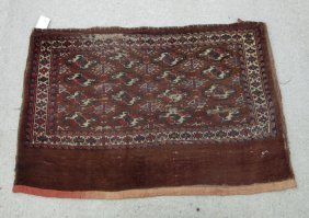 Antique Turkoman Bag, 46 By 30 Inches. Condition: Wear.