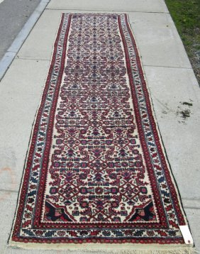 Old White Field Persian Oriental Runner, 138 By 36