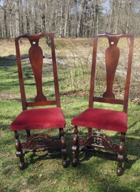 Pair Of Mahogany Jacobean Style Chairs. Condition: