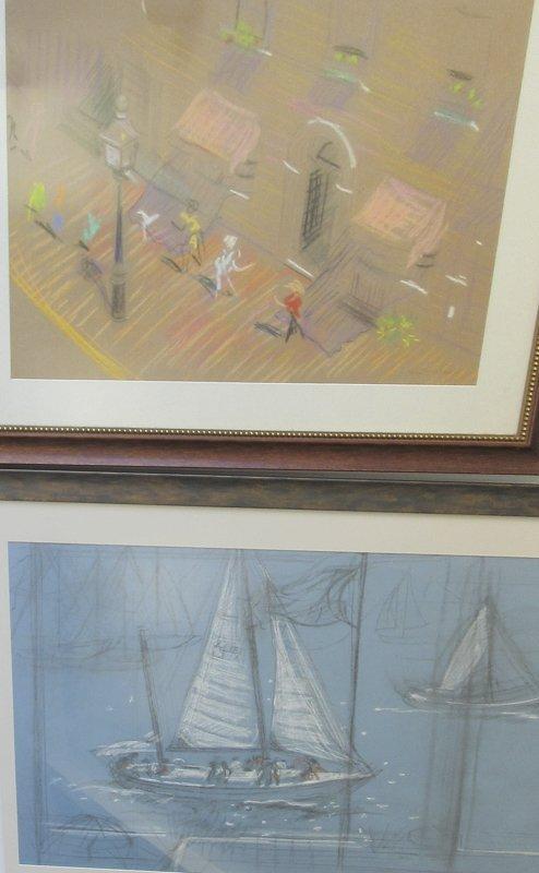 Lot of 4 Helen Coolidge Adams pastel Boston scenes,