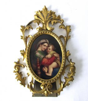 Antique Kpm Type Painting On Porcelain Of The Madonna