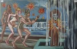 Herbert Leopold Surrealist oil on board Romans and