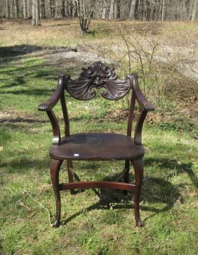 "Late Victorian Carved Mahogany, ""north Wind,"" Chair."