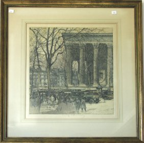 French Etching With Color, Indistinctly Signed, Marked,