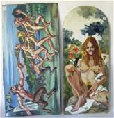 Lot of 2 Herbert Leopold oils on board: nudes and satyr