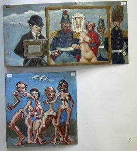 Lot Of 2 Herbert Leopold Surrealist Oils On Board: