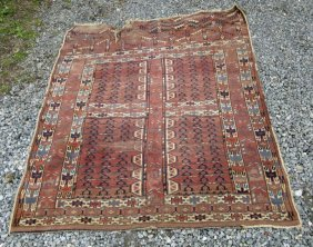 Antique Turkoman Carpet, 69 By 59 Inches. Condition:
