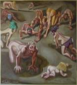 Herbert Leopold oil on board of crawling nudes, 32.5 by