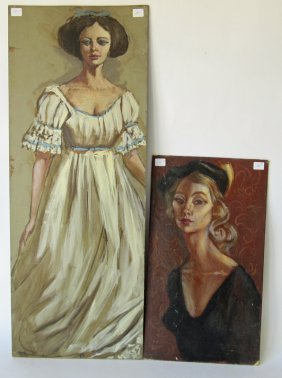 Lot Of 2 Unsigned Herbert Leopold Female Portraits,