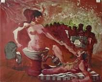 Herbert Leopold oil on board Surrealist nude, 20 by 24