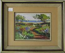 Wayne Morrell oil on board shore scene 6 by 8 inches