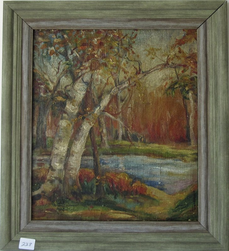 Indistinctly signed oil on board wooded landscape, 12