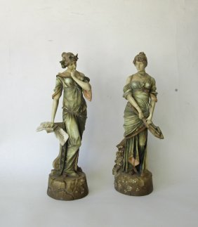Pair Of Continental Parisian Figures, 16 Inches Tall.