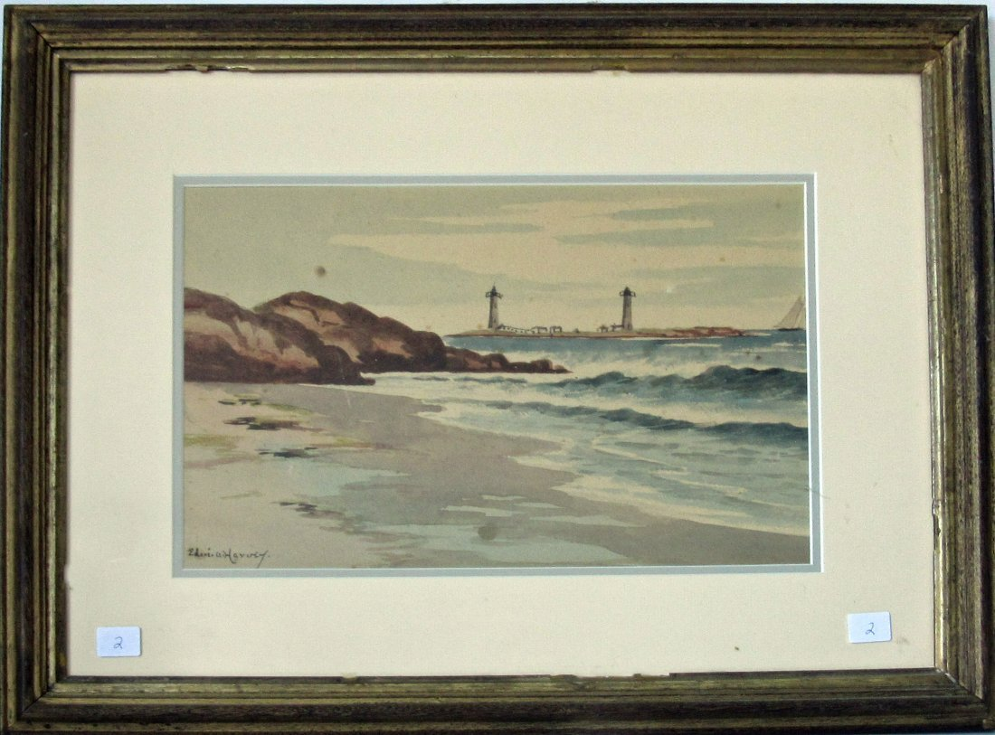 Edward A. Harvey watercolor of Twin Lights, Rockport,