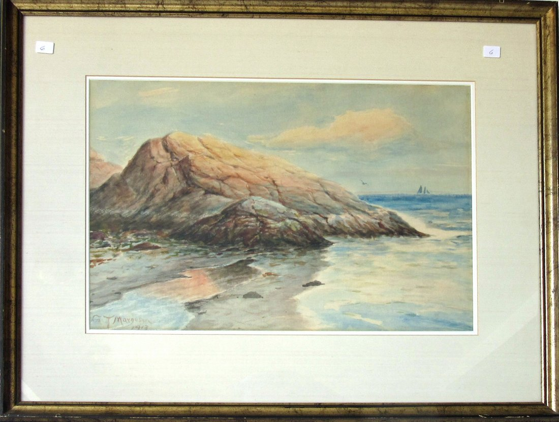 Gilbert Tucker Margeson watercolor shore scene, 13.5 by
