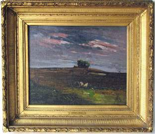 "Julian Rix oil on canvas, ""Approach of Evening,"" 14.5"