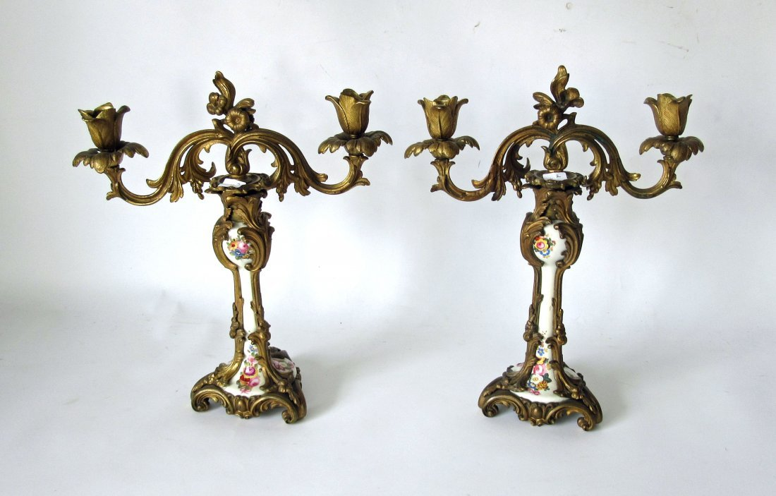 Pair of French porcelain brass mounted candlesticks, 14