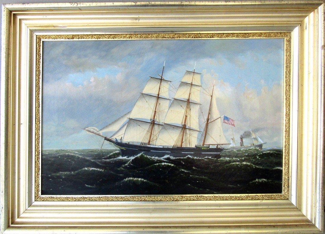 19th century oil on canvas ship portrait of the Bark,