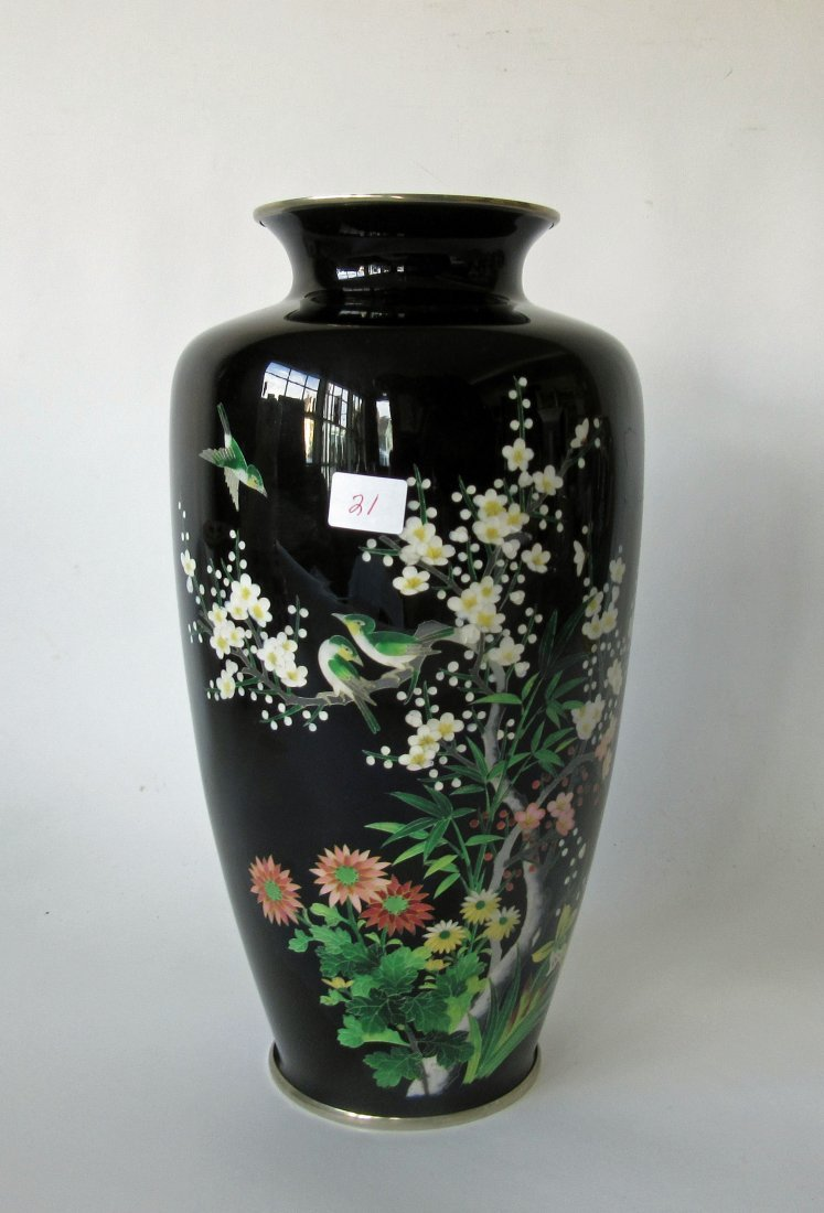 Antique Japanese cloisonn vase, 12.75 inches tall.