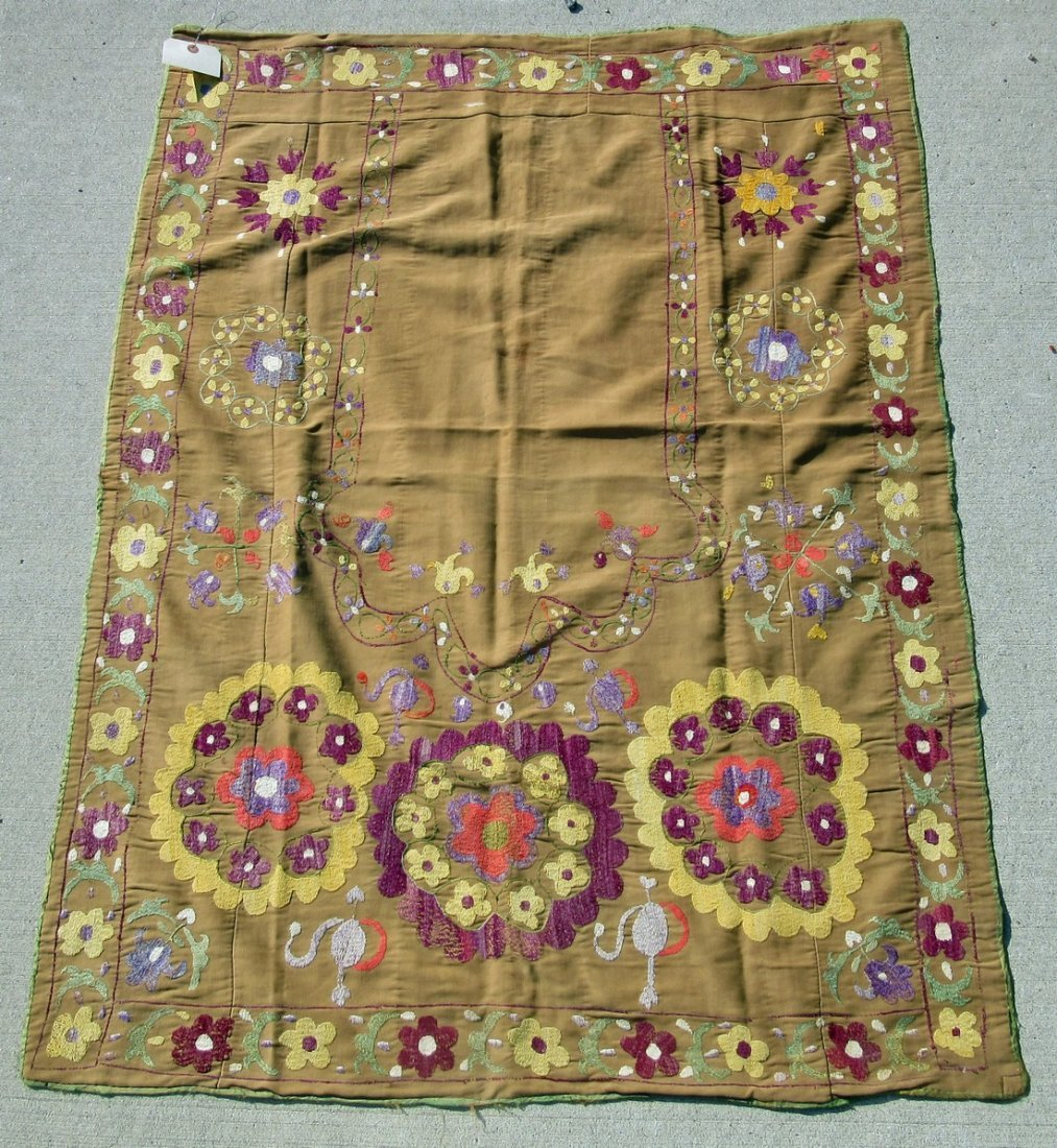 Old Oriental Suzani prayer embroidery, 48 by 36 inches.