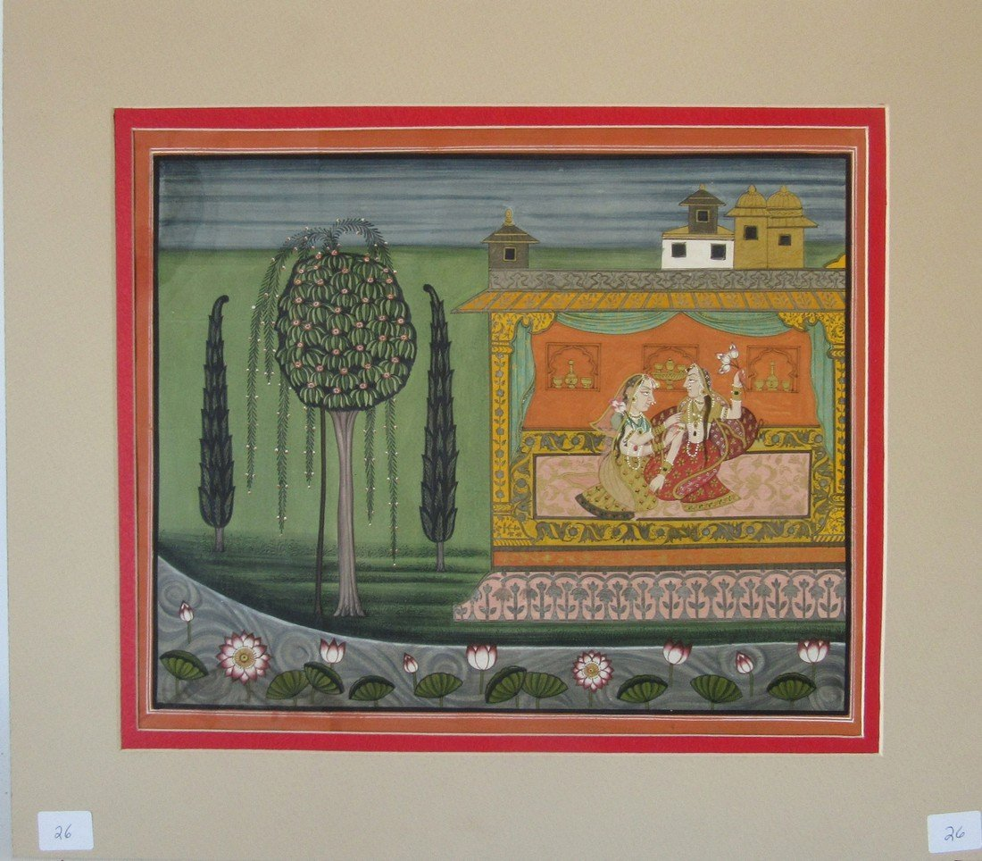 Antique Indian gouache of two figures, 10 by 12 inches,