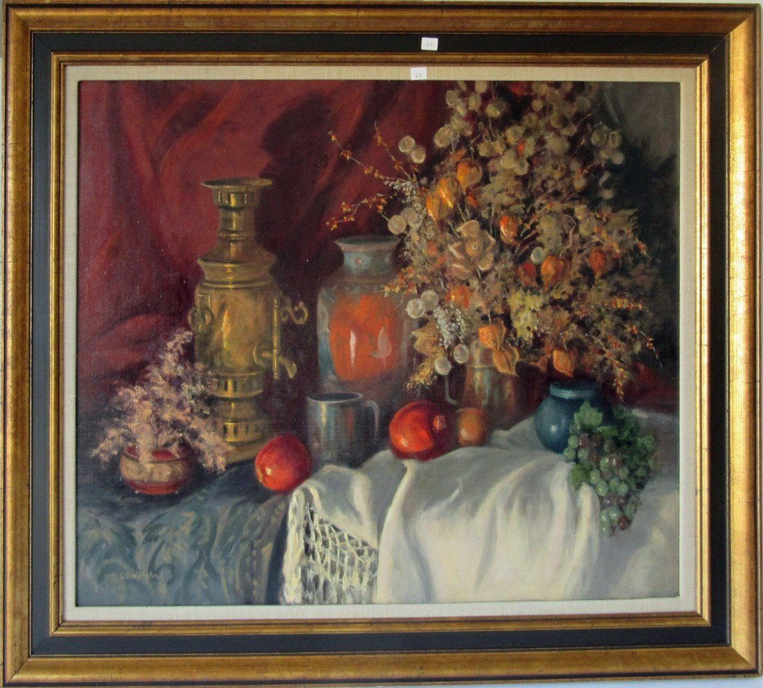 Genevieve Wilhelm oil on board floral still life, 28 by