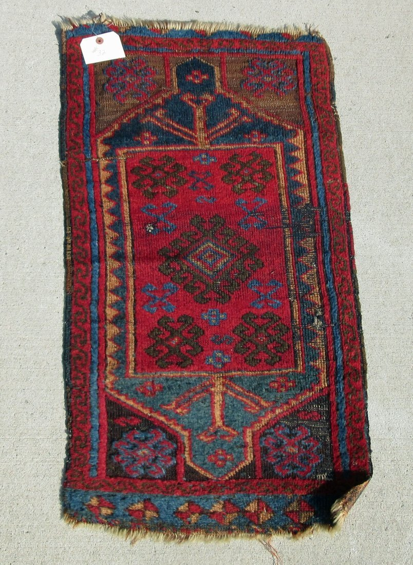 Old Oriental Turkish Yastic scatter rug, 36 by 18