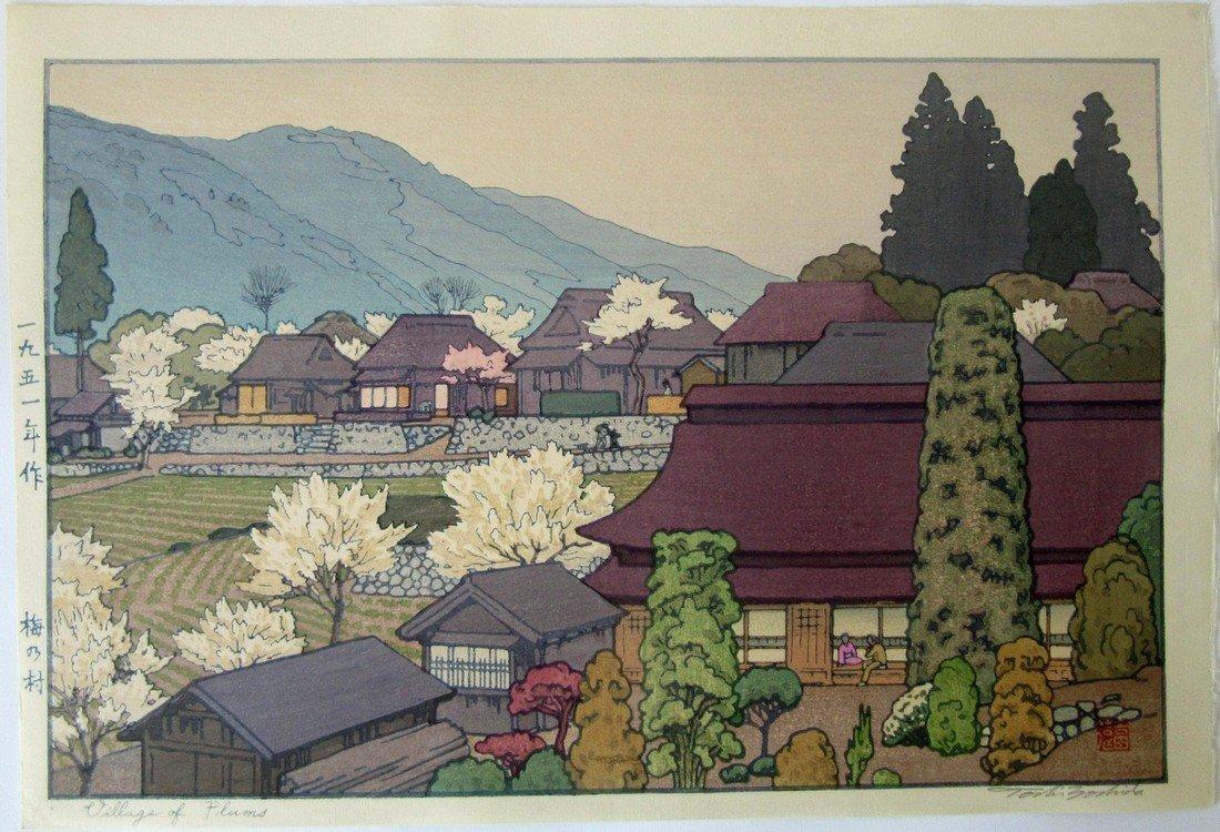 "Toshi Yoshida Japanese woodblock print, ""Village of"