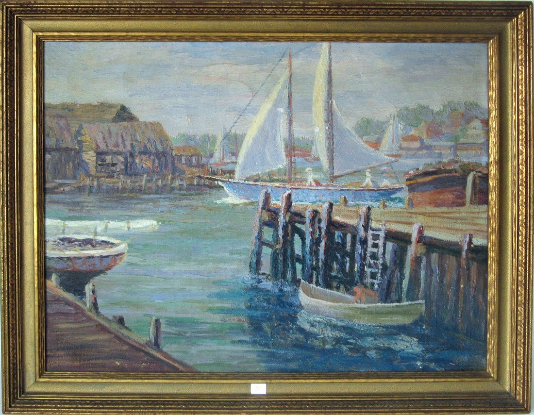 Oil on canvas harbor scene with sailing craft, 20 by 25