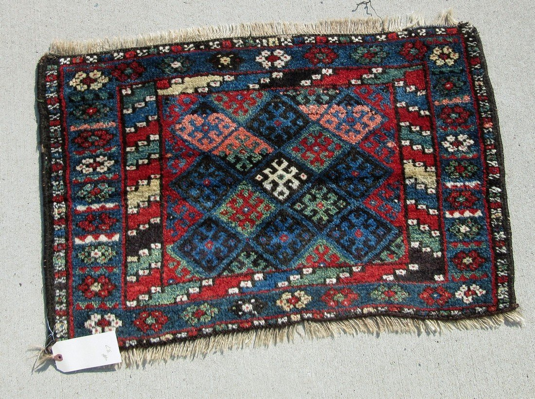 Old Oriental Kurdish bag face, 24 by 37 inches.