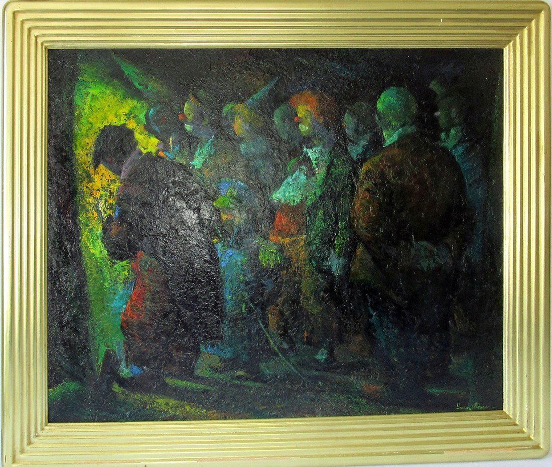 """Iver Rose oil on masonite, """"Waiting for their Cue,"""""""