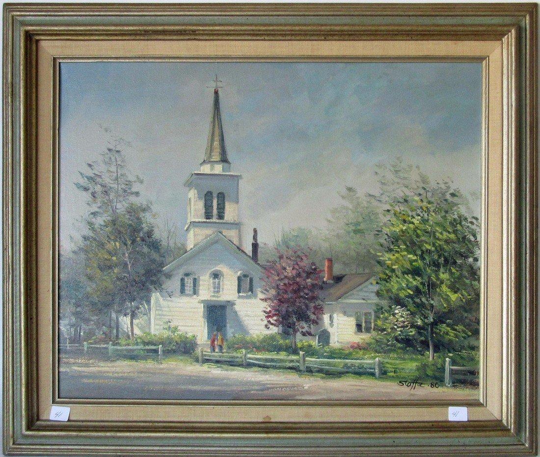 Michael Stoffa oil on canvas Cape Ann church, 16 by 20
