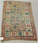 Old Caucasian Oriental scatter rug 48 by 34 inches