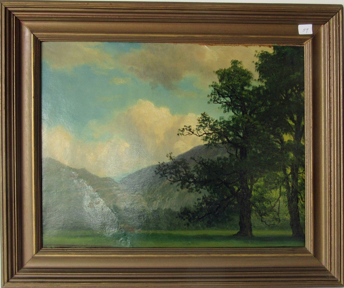 Unsigned wooded landscape, 13.5 by 17.5 inches, framed.