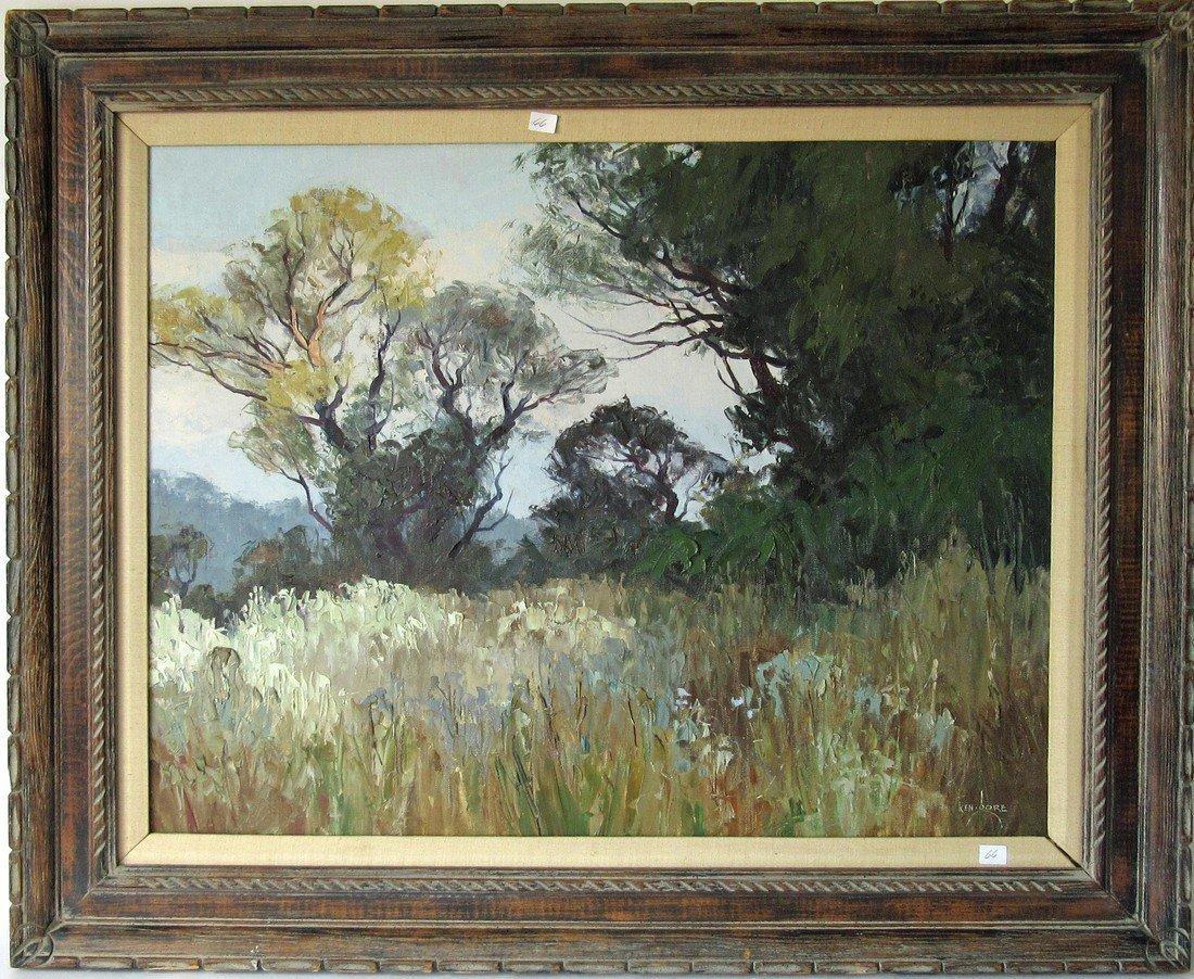 Ken Gore oil on board wooded landscape, 23 by 30