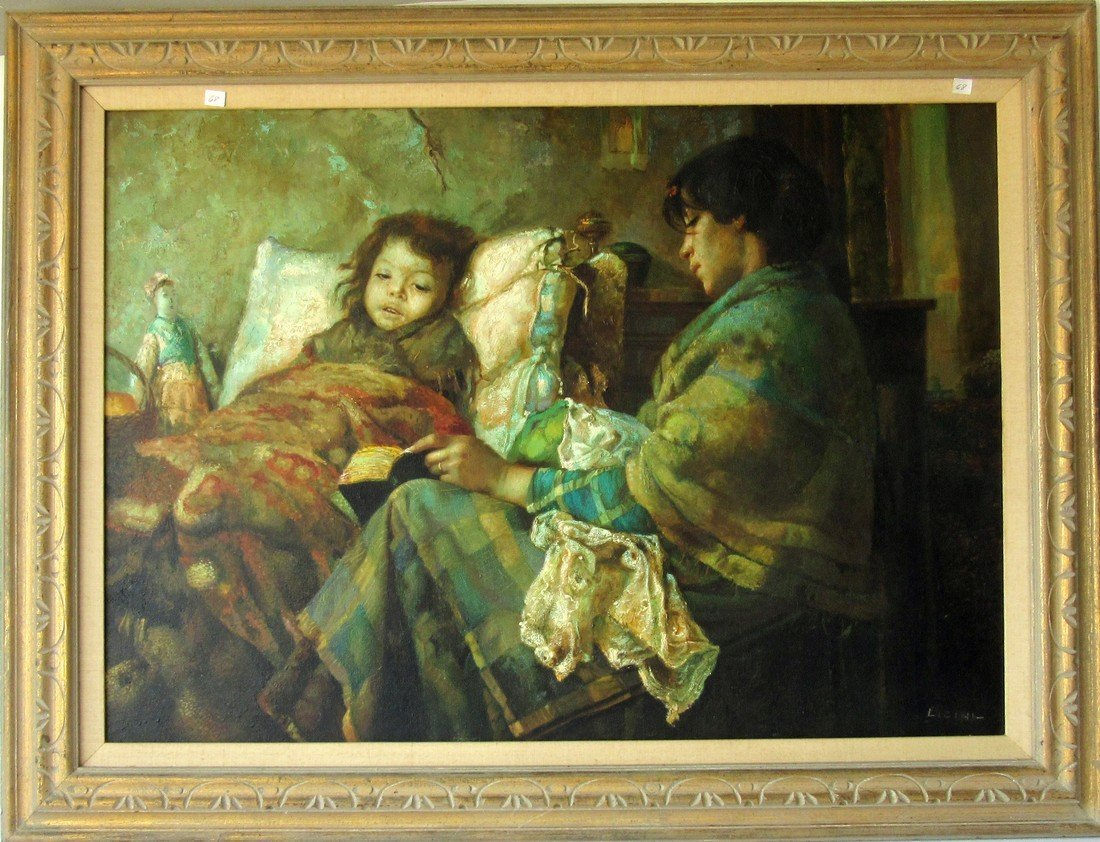 Licini oil on canvas mother and child, 27 by 39 inches,