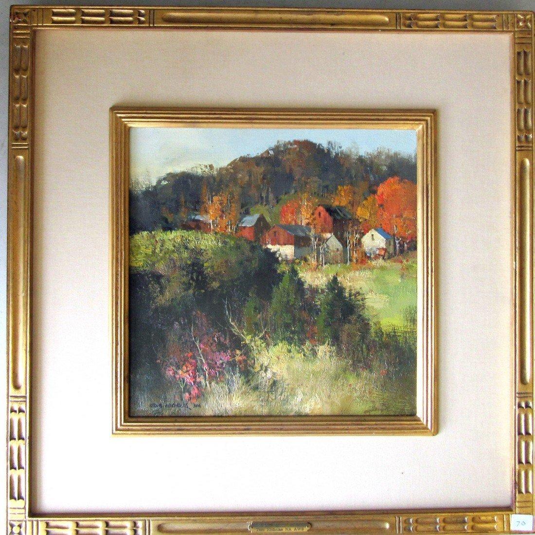 "Tom Nicholas oil on canvas, ""Hillside Farm, autumn,"" 12"