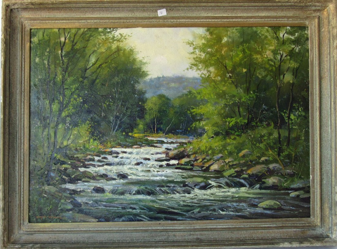 Wayne Morrell oil on board wooded landscape with