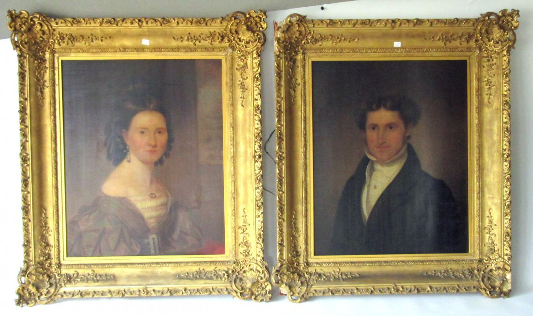 Pair of 19th century American oil portraits on wooden