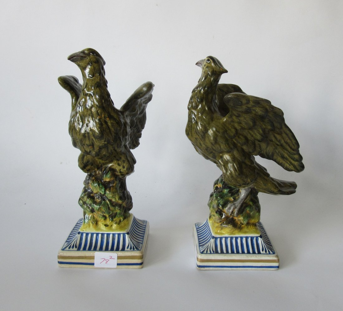 Pair of French porcelain eagles, 8 inches tall.