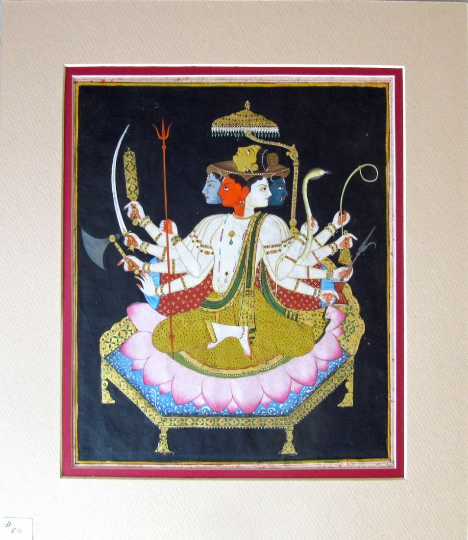 Indian Kangla school 19th century gouache of the divine