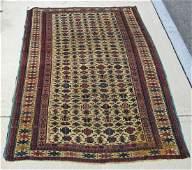 Old white field Oriental Kuba scatter rug 74 by 49