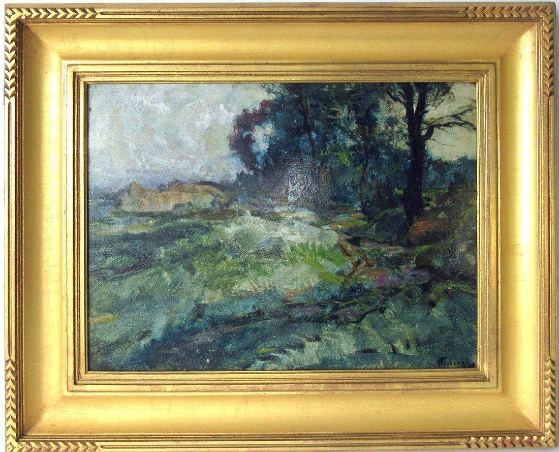 Fredrick Judd Waugh oil on board wooded landscape, 12