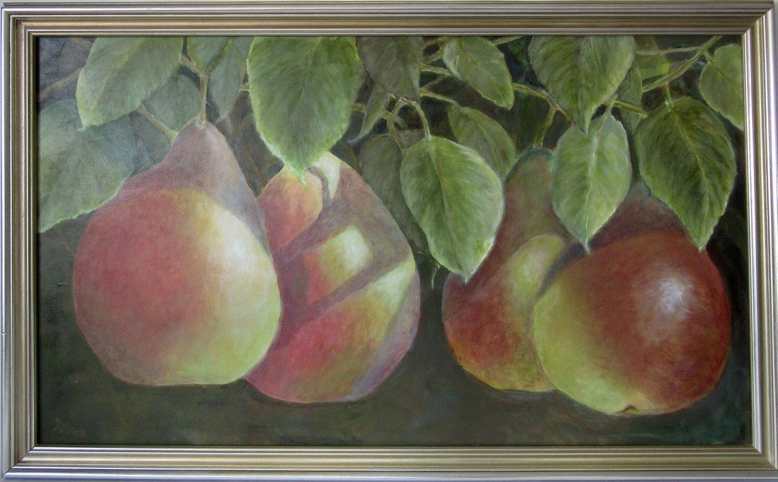 Ruth Milne oil on canvas still life with fruit, 28 by