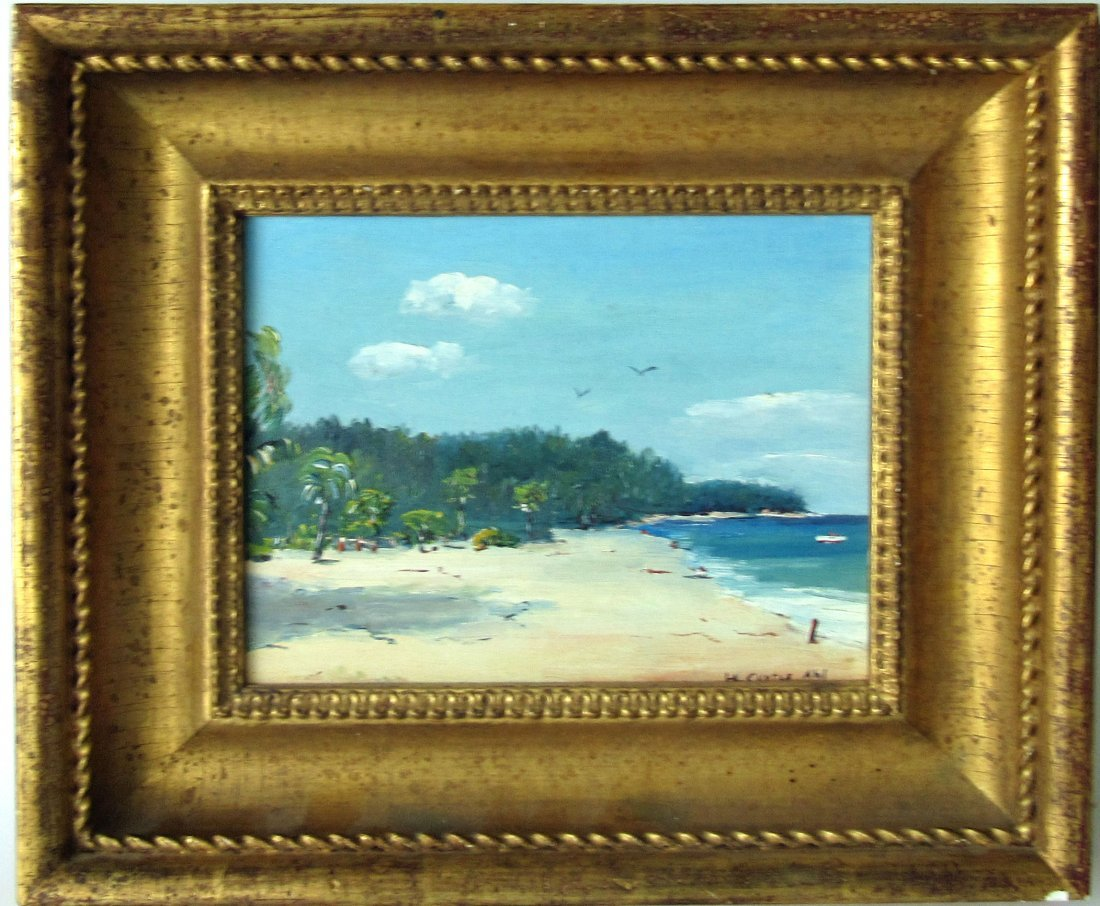 "Henry Curtis Ahl oil on board, ""Bahamas Beach,"" 8 by 10"