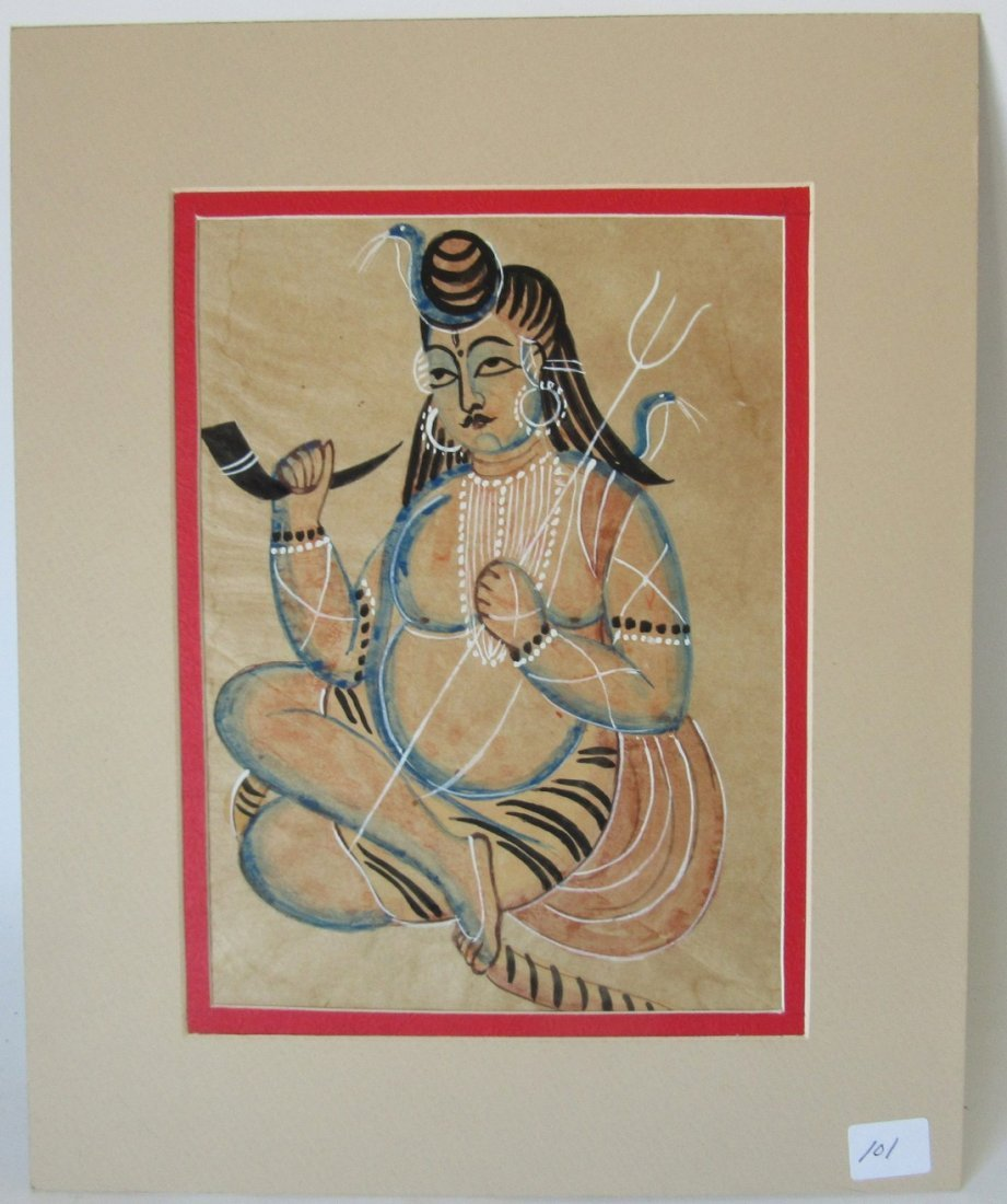 Indian painting of a figure, 9.5 by 7.5 inches, matted.